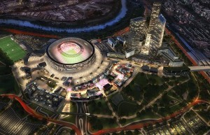Veduta dall'alto del progetto stadio