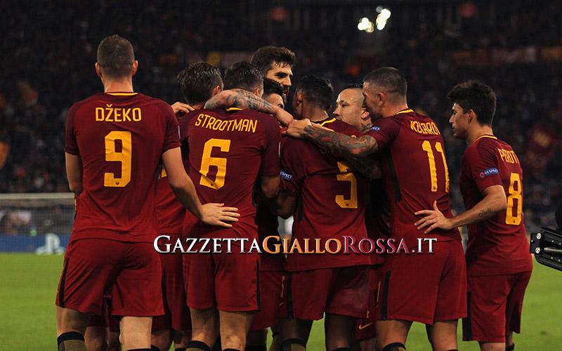 Roma-Chelsea esultanza Roma
