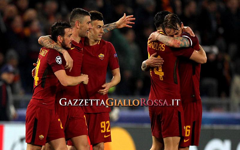 Roma-Shakhtar Donetsk esultanza Roma