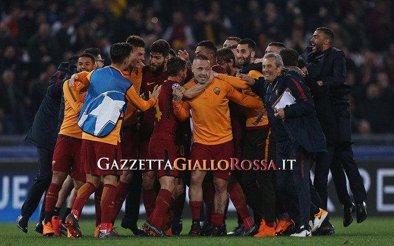 Roma-Barcellona esultanza Roma